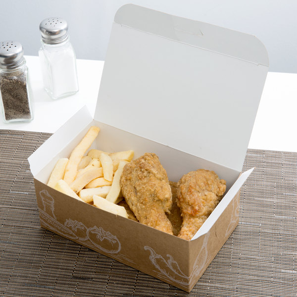 "7"" x 4 1/4"" x 2 3/4"" Take Out Lunch / Snack / Chicken Box with Fresh Print Design - 250/Case"