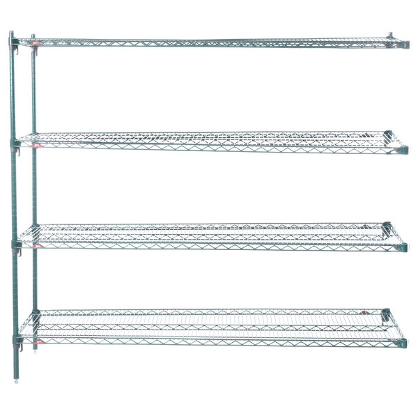 "Metro AA376K3 Super Adjustable Metroseal 3 4-Shelf Wire Stationary Add On Unit - 18"" x 72"" x 63"" Main Image 1"