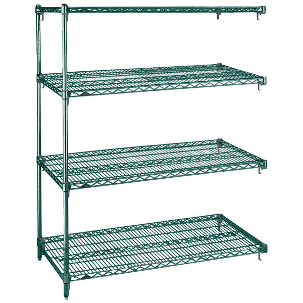 "Metro AA536K3 Super Adjustable Metroseal 3 4-Shelf Wire Stationary Add On Unit - 24"" x 36"" x 63"" Main Image 1"