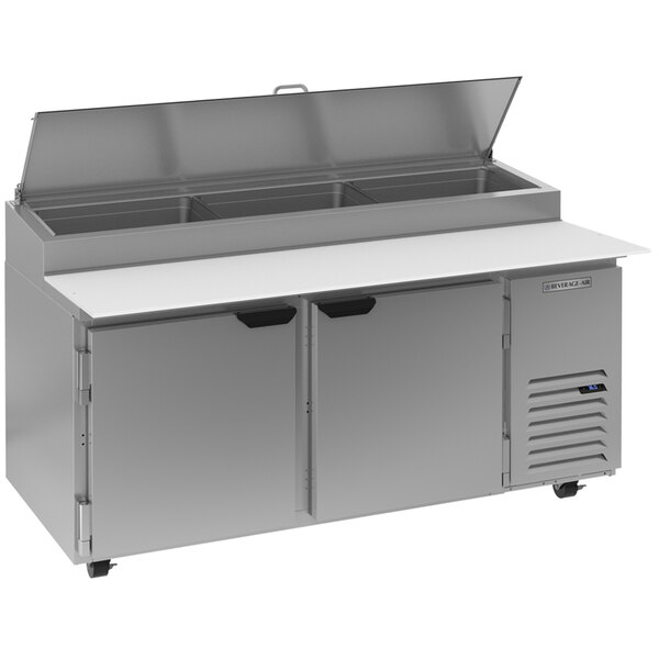 """Beverage-Air DP67HC 67"""" Two Door Refrigerated Pizza Prep Table Main Image 1"""