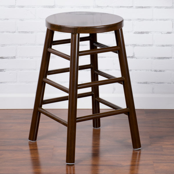 """Lancaster Table & Seating Spartan Series 24"""" Metal Woodgrain Counter Height Stool with Dark Finish"""
