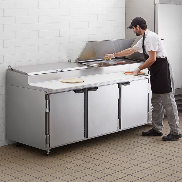 "Beverage-Air DP93HC 93"" Three Door Refrigerated Pizza Prep Table Main Image 5"