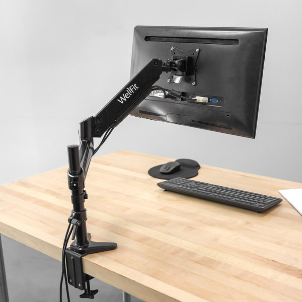 360 Office Furniture WellFit Black Single Monitor Desk-Mount Arm