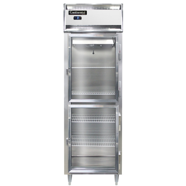 "Continental DL1FS-GD-HD 26"" Shallow Depth Half Glass Door Reach-In Freezer Main Image 1"