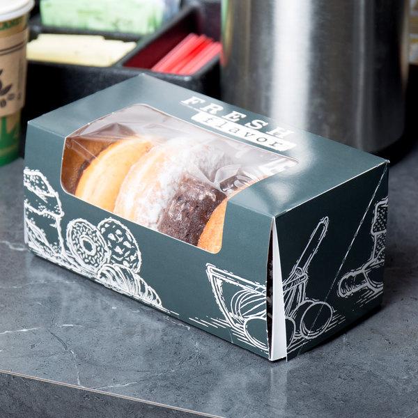 "9"" x 4 1/2"" x 4"" White Auto-Popup Window Cake / Bakery / Donut Box with Fresh Print Design - 100/Case"