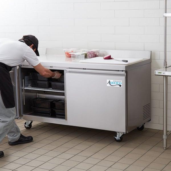 """Avantco SS-WT-60F-HC 60"""" Two Door Worktop Freezer with 3 1/2"""" Backsplash"""