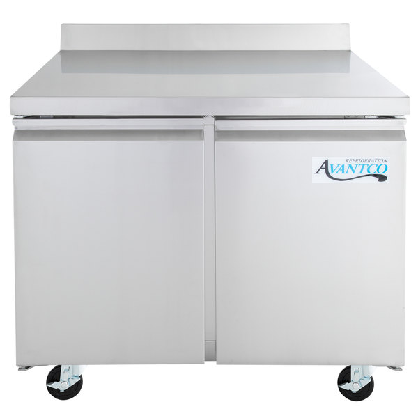 "Avantco SS-WT-36R-HC 36"" Worktop Refrigerator with 3 1/2"" Backsplash Main Image 1"