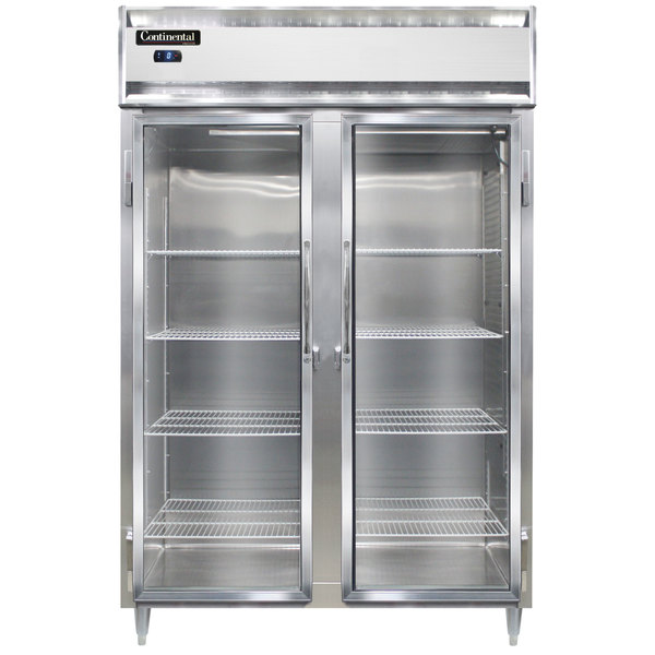 "Continental DL2FS-SA-GD 52"" Shallow Depth Glass Door Reach-In Freezer Main Image 1"