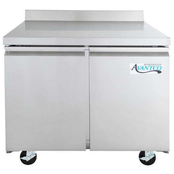 """Avantco SS-WT-36F-HC 36"""" Two Door Worktop Freezer with 3 1/2"""" Backsplash"""