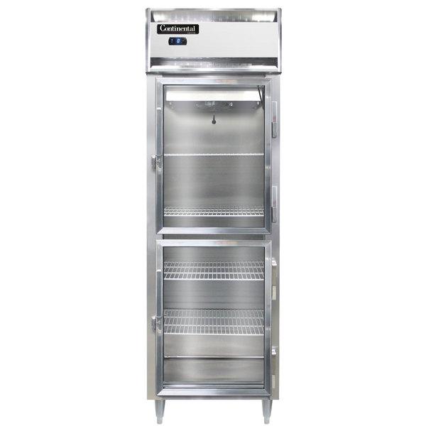 "Continental DL1FS-SS-GD-HD 26"" Shallow Depth Half Glass Door Reach-In Freezer Main Image 1"