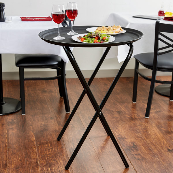 """Lancaster Table & Seating 19"""" x 17"""" x 31"""" Folding Tray Stand Black Metal Main Image 2"""