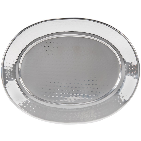 "American Metalcraft HMOST1317 17 1/4"" Oval Hammered Stainless Steel Tray"