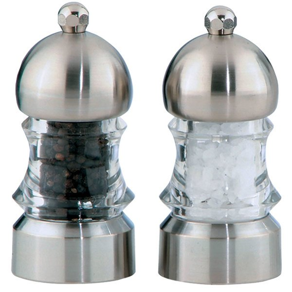 "Chef Specialties 01572 3 1/2"" Metro Acrylic Pepper Mill / Salt Mill Set"