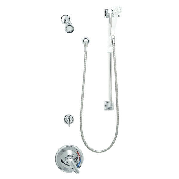 T&S B-3306 Shower Package with Pressure Balancing Mixing Valve, Chrome Face Plate, and Shower Head Spray Assembly - Threaded Connections