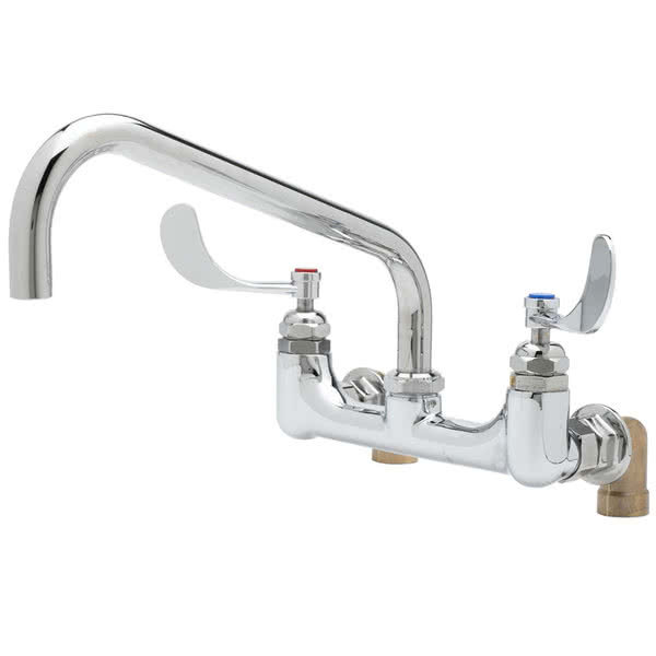 """Equip by T&S 5F-8WWB06 Wall Mounted Faucet with 8"""" Adjustable Centers, 6"""" Swing Spout, Laminar Flow Device, Cerama Cartridges, and Wrist Handles Main Image 1"""