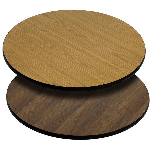 "Flash Furniture XU-RD-24-WNT-GG 24"" Natural / Walnut Reversible Laminated Round Table Top Main Image 1"