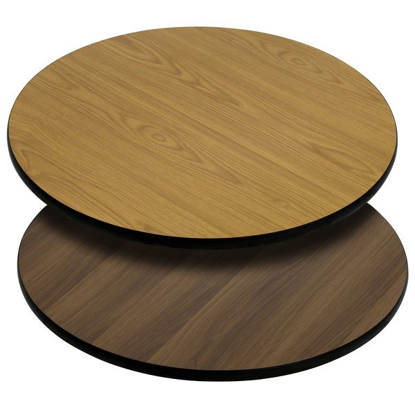 "Flash Furniture XU-RD-30-WNT-GG 30"" Natural / Walnut Reversible Laminated Round Table Top Main Image 1"