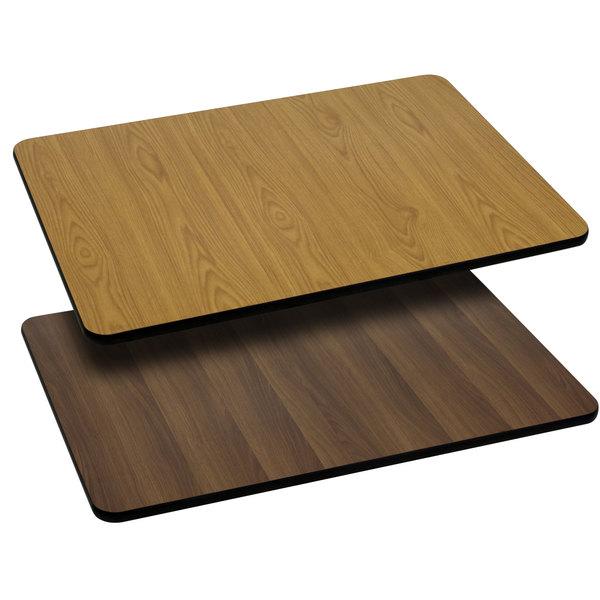 "Flash Furniture XU-WNT-3060-GG 30"" x 60"" Natural / Walnut Reversible Laminated Rectangular Table Top"
