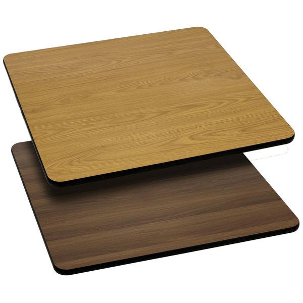 "Flash Furniture XU-WNT-3030-GG 30"" x 30"" Natural / Walnut Reversible Laminated Square Table Top"