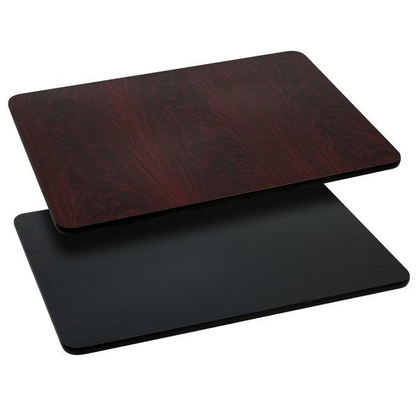 "Flash Furniture XU-MBT-3048-GG 30"" x 48"" Black / Mahogany Reversible Laminated Rectangular Table Top"