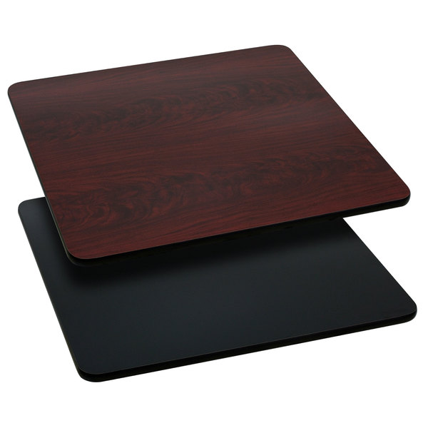 "Flash Furniture XU-MBT-3636-GG 36"" x 36"" Black / Mahogany Reversible Laminated Square Table Top"