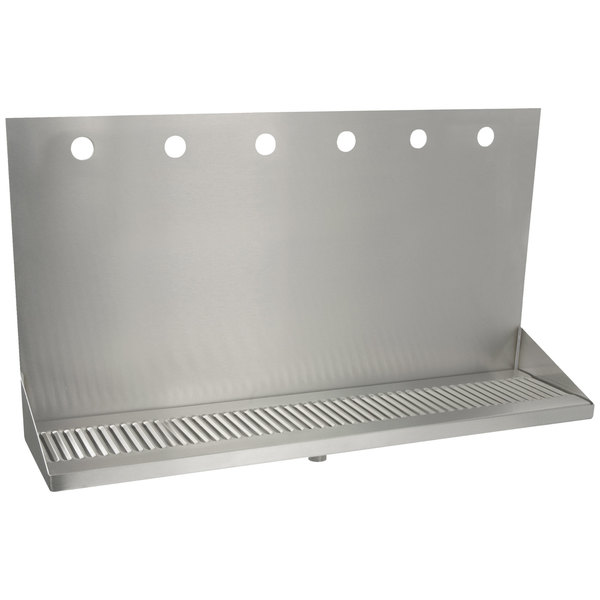 """Micro Matic DP-322ELD-6 24"""" x 6 3/8"""" x 14"""" 6 Faucet Stainless Steel Wall Mount Drip Tray Main Image 1"""
