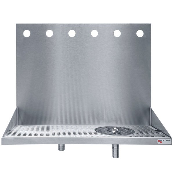"""Micro Matic DP-322ELD-6GR 24"""" x 6 3/8"""" x 14"""" 6 Faucet Stainless Steel Wall Mount Drip Tray with Glass Rinser"""
