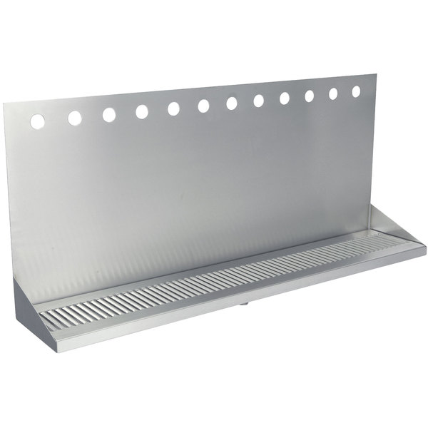 """Micro Matic DP-332ELD-12-3 36"""" x 6 3/8"""" x 14"""" 12 Faucet Stainless Steel Wall Mount Drip Tray"""