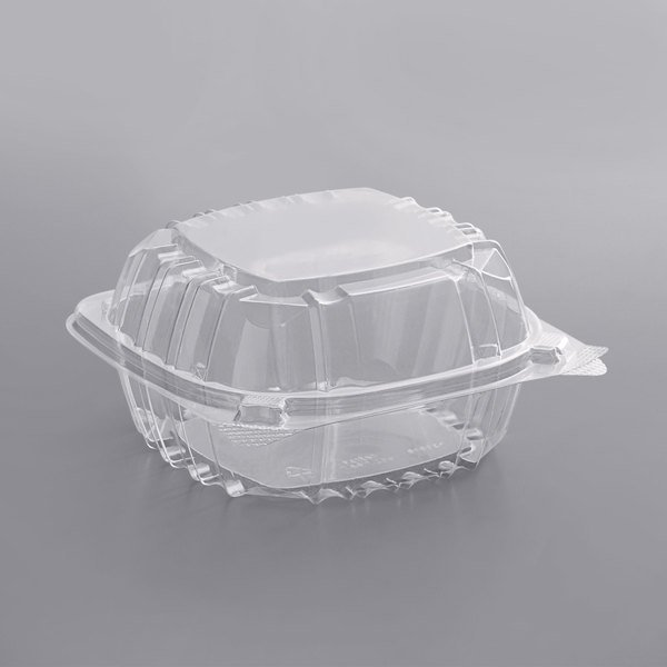 Dart C57PST1 ClearSeal 6 inch x 5 13/16 inch x 3 inch Hinged Lid Plastic Container - 500/Case
