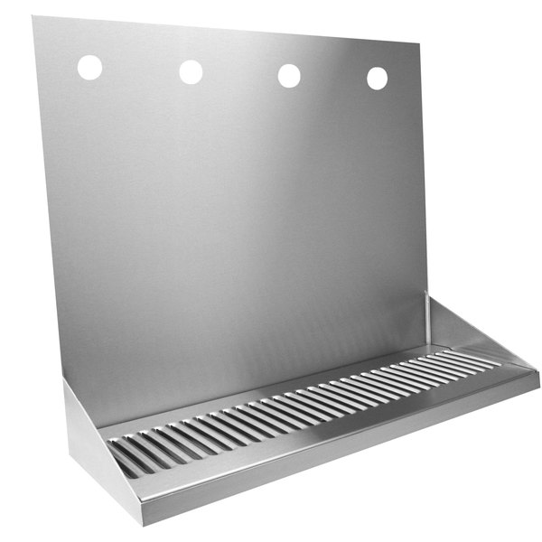 """Micro Matic DP-322LD-4 16"""" x 6 3/8"""" x 14"""" 4 Faucet Stainless Steel Wall Mount Drip Tray"""