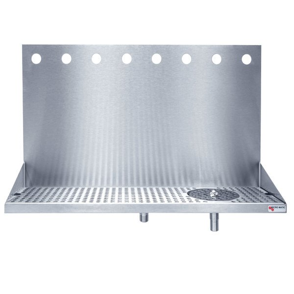 "Micro Matic DP-322ELD-8GR 24"" x 6 3/8"" x 14"" 8 Faucet Stainless Steel Wall Mount Drip Tray with Glass Rinser"