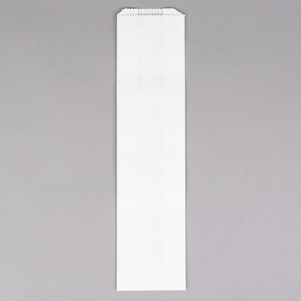 "Bagcraft Papercon 300153 4"" x 2 1/2"" x 16"" Plain Unwaxed White Paper Bread / Hoagie Bag - 1000/Case"
