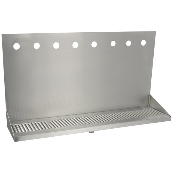 """Micro Matic DP-322ELD-8 24"""" x 6 3/8"""" x 14"""" 8 Faucet Stainless Steel Wall Mount Drip Tray"""