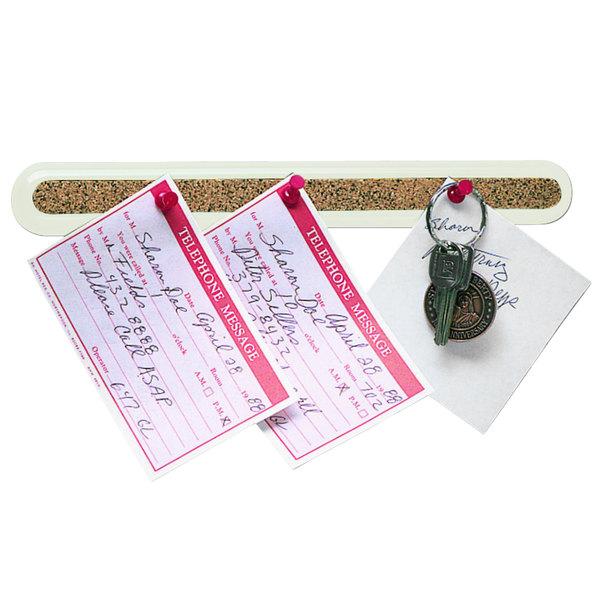 "Quartet 23502 18"" x 1 1/2"" Natural Cork Bulletin Bar with Putty Plastic Frame Main Image 1"