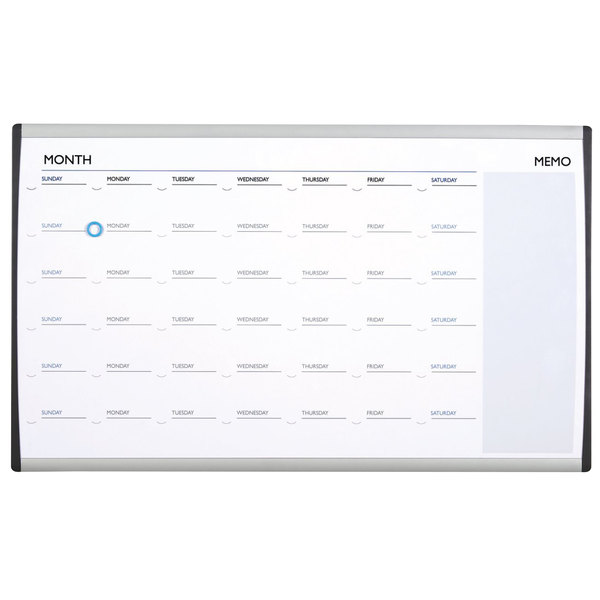 "Quartet ARCCP3018 18"" x 30"" Magnetic Steel Monthly Calendar Whiteboard with Silver Aluminum Frame"