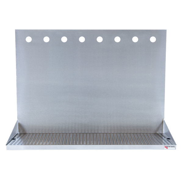 """Micro Matic DP-322ELD-8-18 24"""" x 6 3/8"""" x 18"""" 8 Faucet Stainless Steel Wall Mount Drip Tray Main Image 1"""