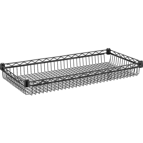 "Metro CC9744C Super Erecta Black Wire Basket Shelf - 18"" x 36"" x 3 1/2"""