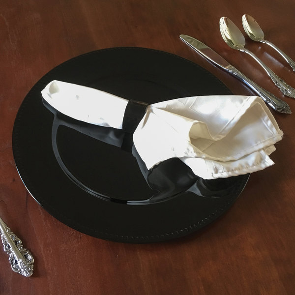 """Tabletop Classics by Walco TR-6655 13"""" Black Round Plastic Charger Plate with Beaded Rim"""