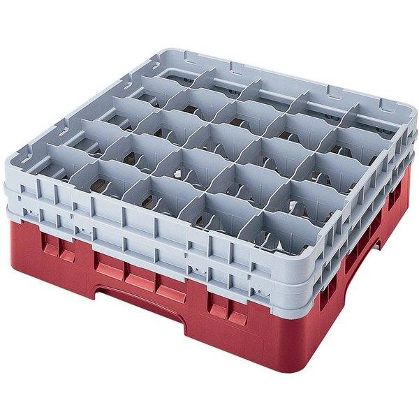 "Cambro 25S958416 Camrack Customizable 10 1/8"" High Customizable Cranberry 25 Compartment Glass Rack Main Image 1"