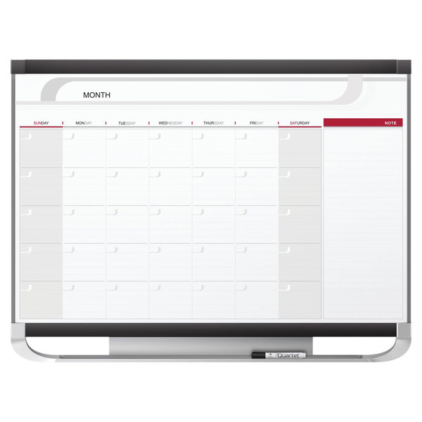 "Quartet CP43P2 Prestige 2 36"" x 48"" Total Erase Magnetic Monthly Calendar Whiteboard with Graphite Plastic Frame Main Image 1"