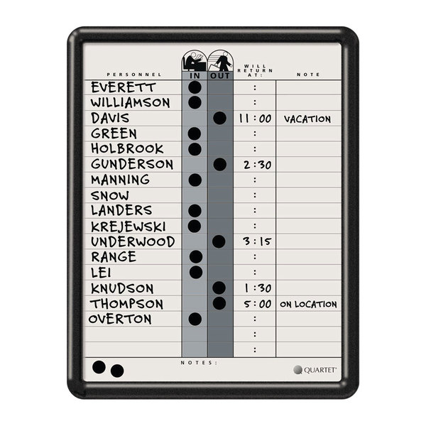 "Quartet 750 14"" x 11"" Magnetic Porcelain In-Out Whiteboard with Black Plastic Frame Main Image 1"