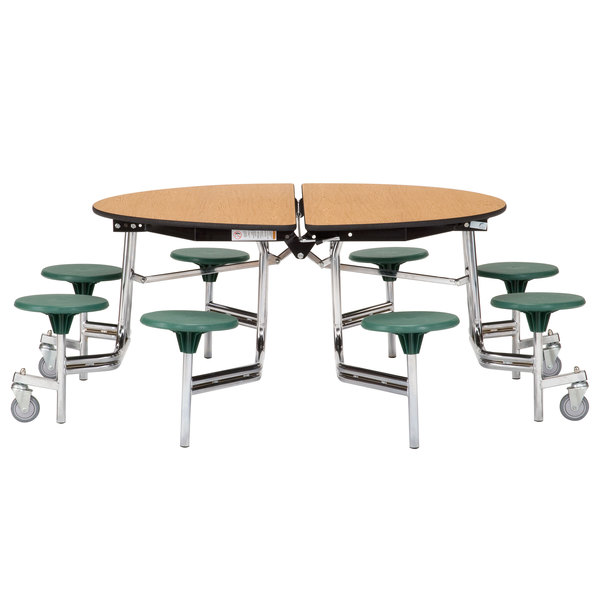 National Public Seating Mtr60s Mdpepc 60 Round Mobile Cafeteria Table With Mdf Core And 8 Stools