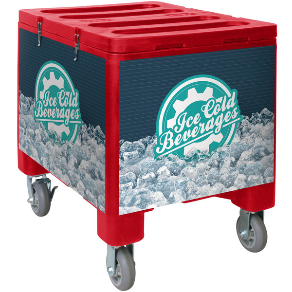 IRP 2000 Red Ice Caddy 200 lb. Mobile Ice Bin / Beverage Merchandiser