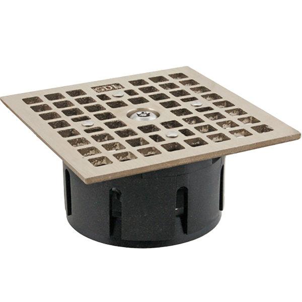 "FMP 102-1176 Guardian 3 1/2"" Drain-Lock Zurn Floor Drain Grate with 4 11/16"" Square Top Plate Main Image 1"
