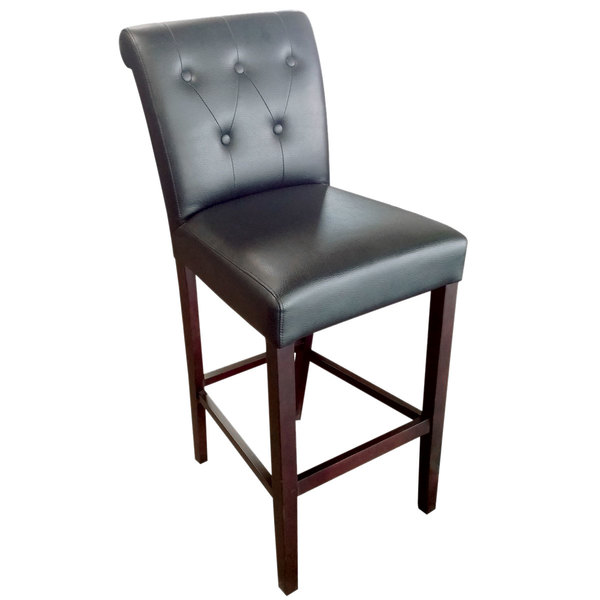Holland Bar Stool 320030ESBlkVinyl Arie Espresso Wood Bar Height Stool With  Back And Black Vinyl Seat