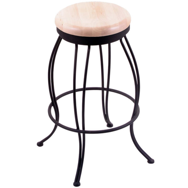 Strange Holland Bar Stool 300025Bwnatmpl Georgian Black Wrinkle Steel Counter Height Swivel Stool With Natural Maple Wood Seat Bralicious Painted Fabric Chair Ideas Braliciousco