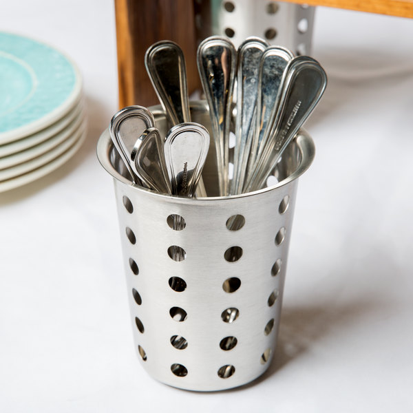 Cal-Mil 1017-39 Perforated Metal Flatware Cylinder