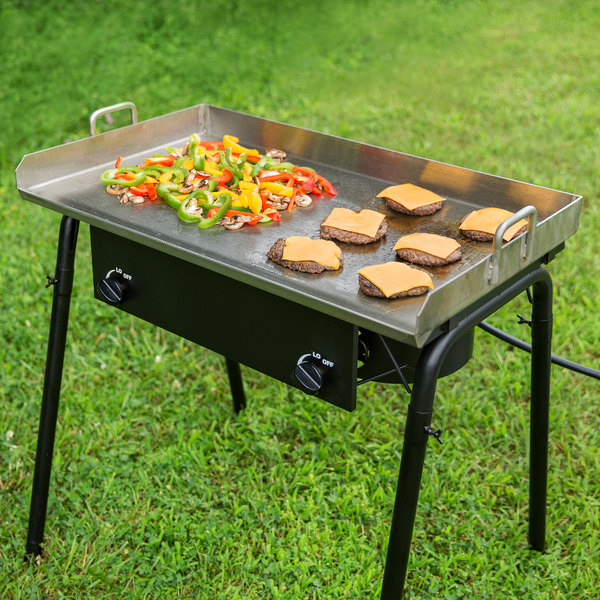 """Backyard Pro 32"""" x 16"""" Stainless Steel Griddle Plate with 2 1/4"""" Splash Guard and Handles Main Image 7"""