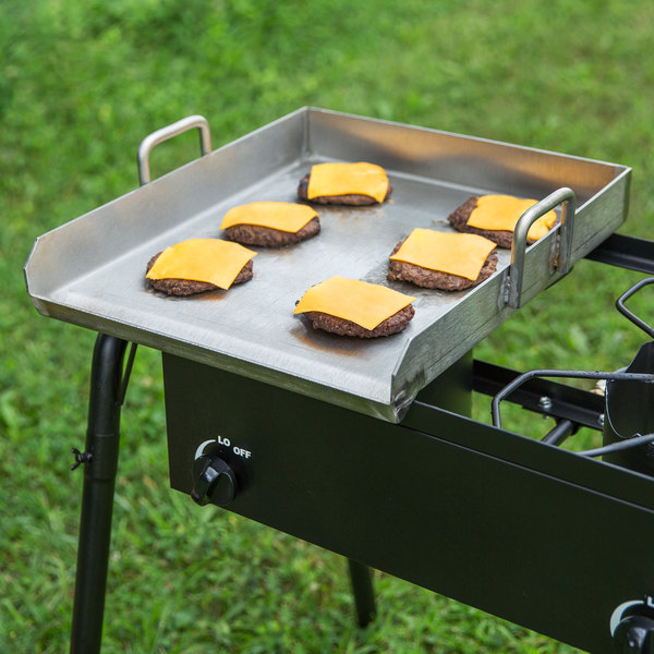 """Backyard Pro 15"""" x 16"""" Stainless Steel Griddle Plate with 2 1/4"""" Splash Guard and Handles Main Image 4"""