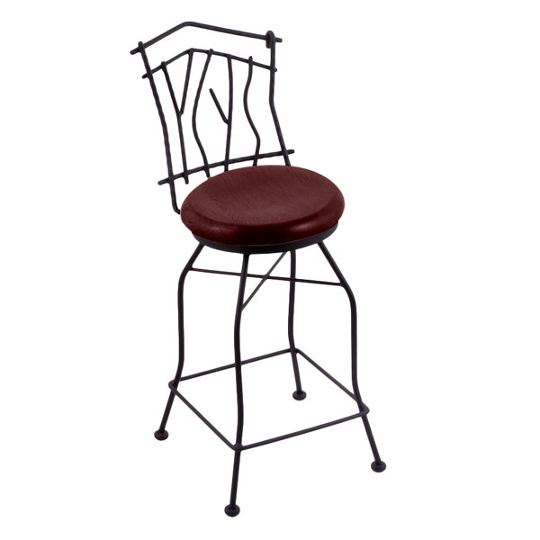 Fantastic Holland Bar Stool 301025Bwdcmpl Black Wrinkle Steel Counter Height Swivel Stool With Back And Dark Cherry Maple Wood Seat Bralicious Painted Fabric Chair Ideas Braliciousco